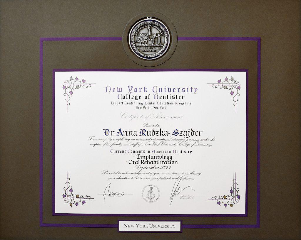 Certyfikat NYC Szajder